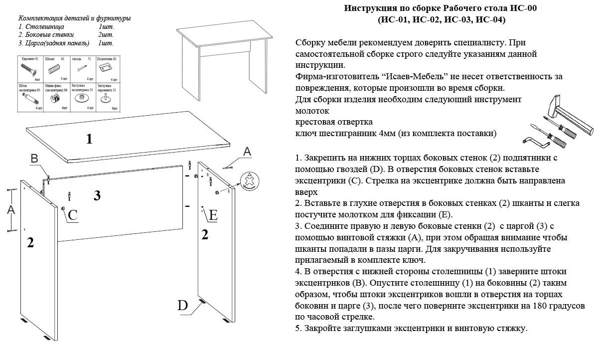 Инструкции по сборке столов
